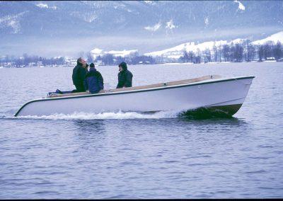 Arbeitsboot für die Segelschuhle DHH am Chiemsee