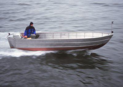 Offenes Chiemseefischer-Arbeitsboot aus Aluminium oder Edelstahl